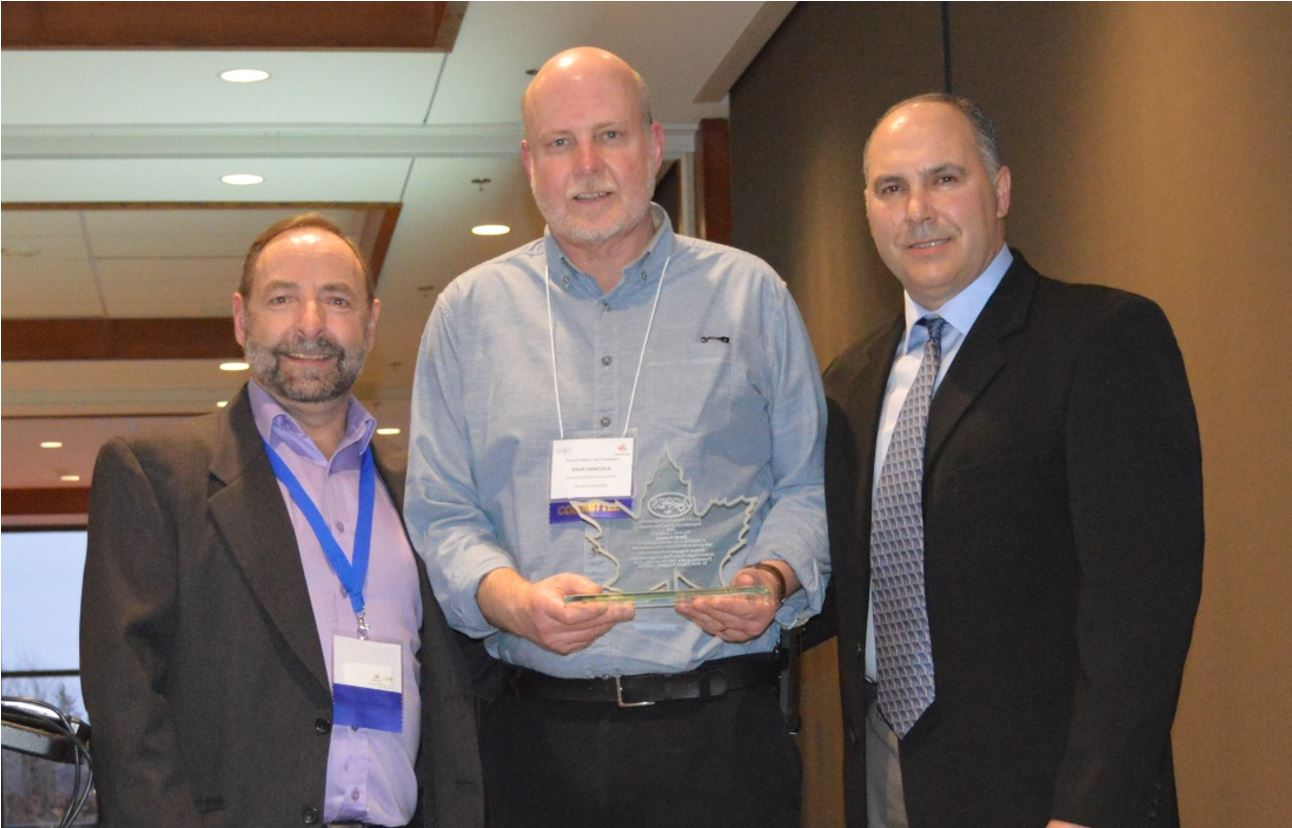 Gary Slaunwhite, ACCES Director of Membership; Dave Hancock, recipient of the 2018 ACCES Clinical Engineering Professional of the Year award; and Brett Fraser, ACCES President
